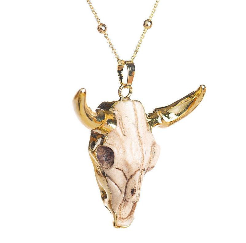 Longhorn Skull Necklace-Necklace-Aria Lattner