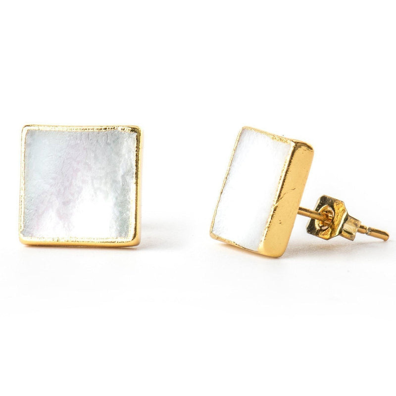 Minimalist Mother-of-Pearl Studs-Earrings-Aria Lattner