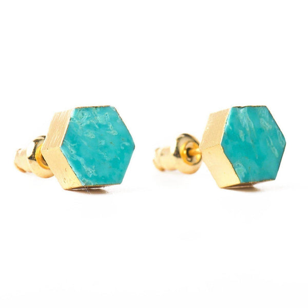 Minimalist Turquoise Studs-Earrings-Aria Lattner