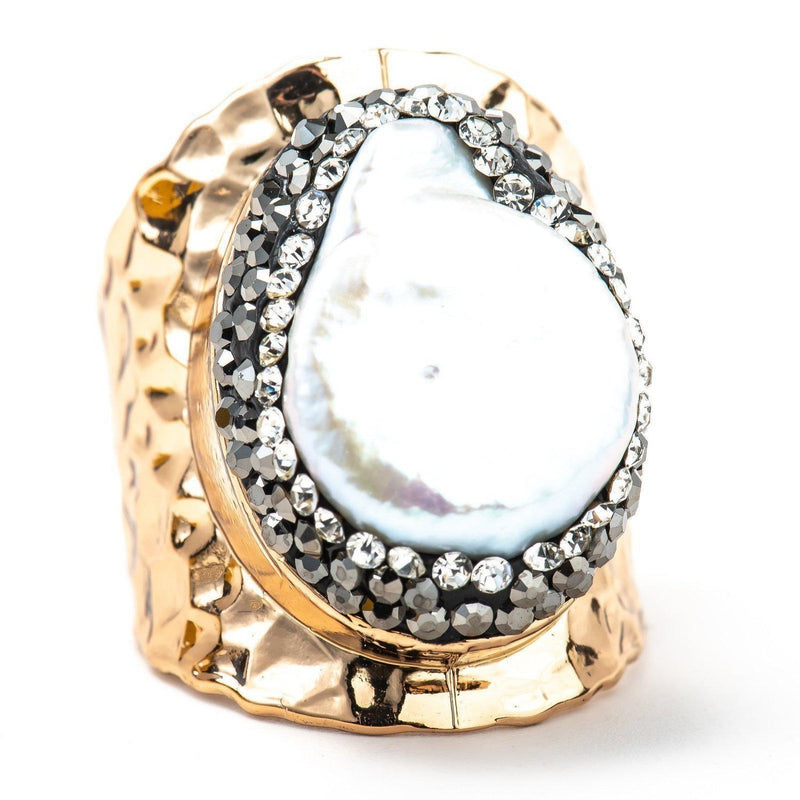 Pearl & Hammered Gold Ring-Ring-Aria Lattner