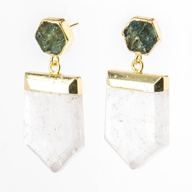 Quartz Point Earrings-Earrings-Aria Lattner
