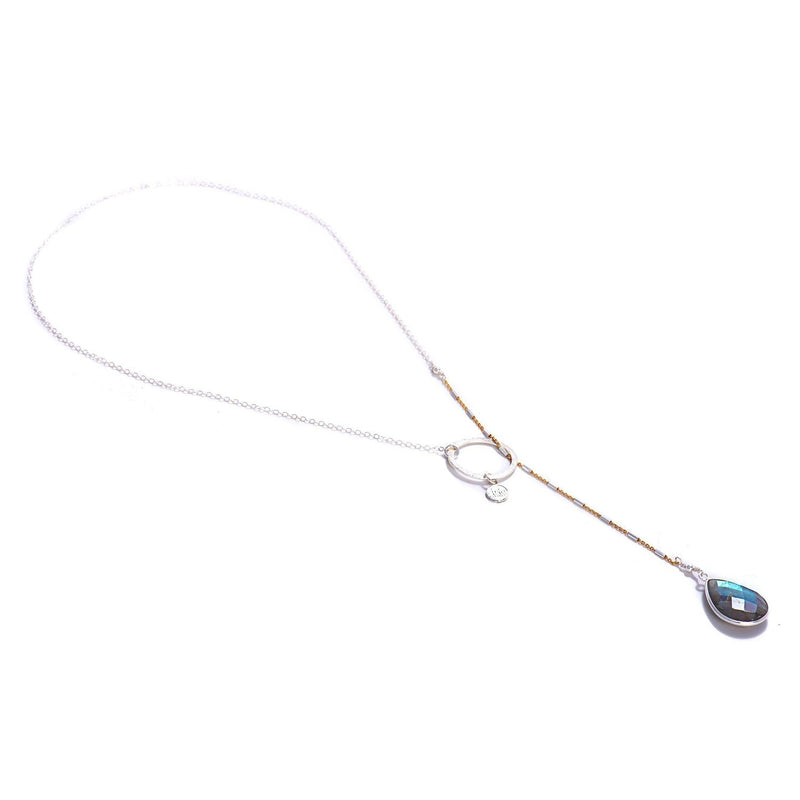 Rainbow Moonstone Lariat-Necklace-Aria Lattner