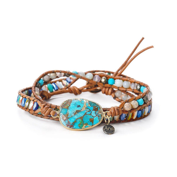 Samantha Leather Wrap Bracelet-Bracelet-Aria Lattner