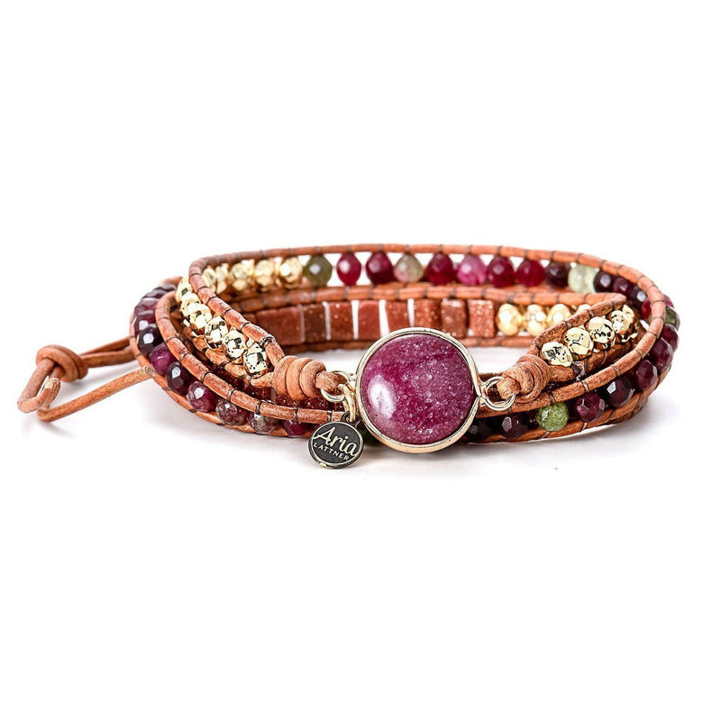 Scarlet Leather Wrap Bracelet-Bracelet-Aria Lattner