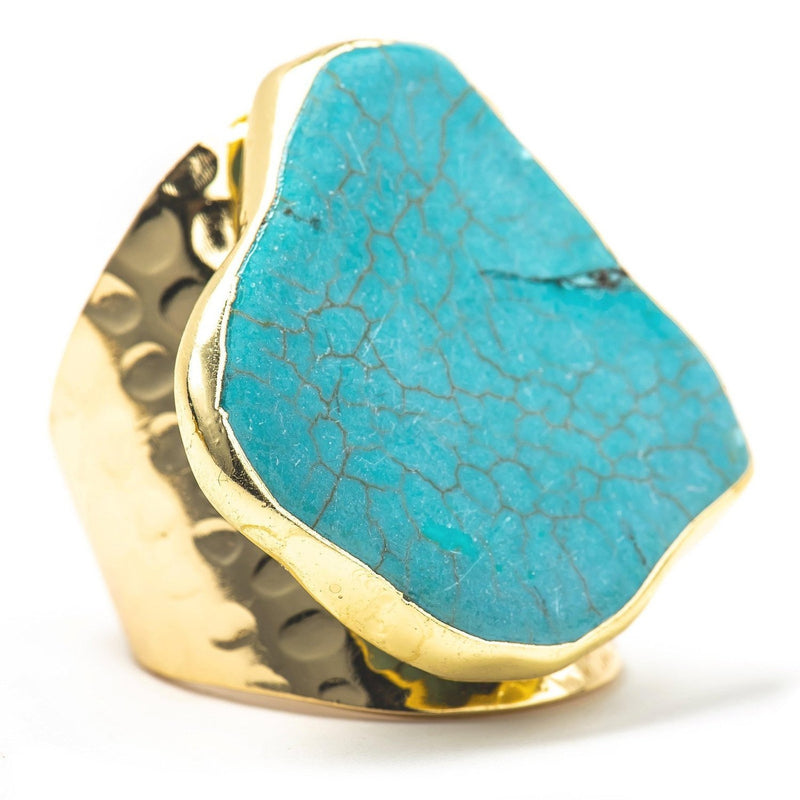Turquoise and Hammered Gold Statement Ring-Ring-Aria Lattner