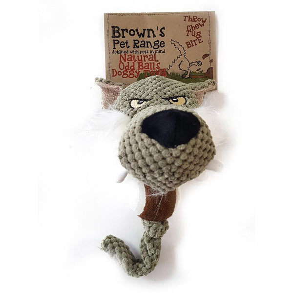 Brown's Natural Odd Balls | Wild Wolf | 13 inch Plush Toy with ball - Dog Toys - Browns Pet Range