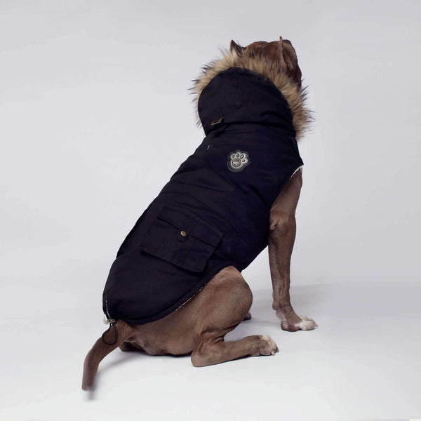 Canada Pooch Alaskan Army Parka Black SIZE 10 & 24 - Dog Coat - Browns Pet Range