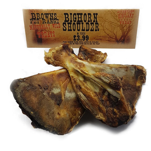 Naturally Wild Dog Treats | Bighorn Shoulder's | 2 Piece - Natural Dog Treats - Browns Pet Range