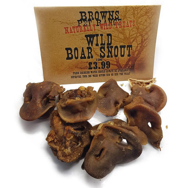 Naturally Wild Dog Treats | Boar Snouts | 150g - Natural Dog Treats - Browns Pet Range