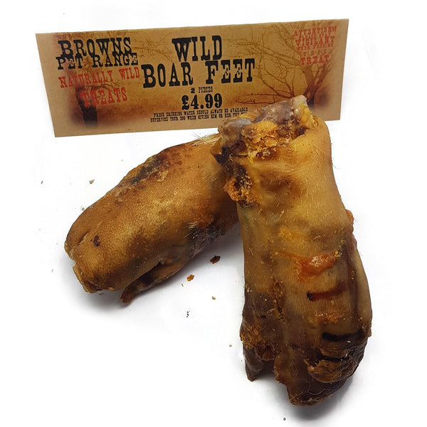Naturally Wild Dog Treats | Wild Boar Feet | 2 Pieces - Natural Dog Treats - Browns Pet Range