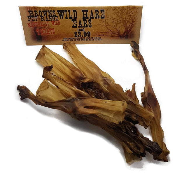 Naturally Wild Dog Treats | Wild Hare Ears | 100g - Natural Dog Treats - Browns Pet Range