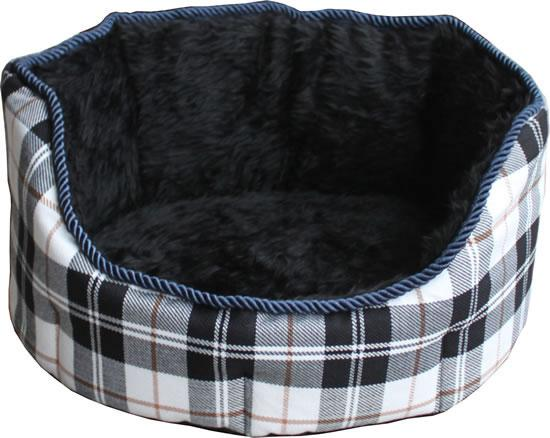 NEW Canvas-Fleece Chequered Black Dog Bed (Size Varieties) - Dog Accessories - Browns Pet Range