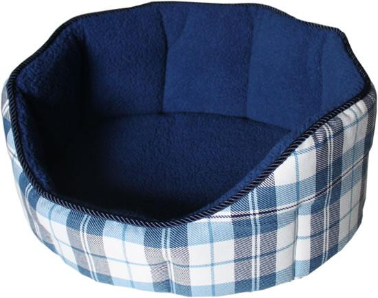 New Canvas Fleece Chequered Blue Dog Bed Size Varieties