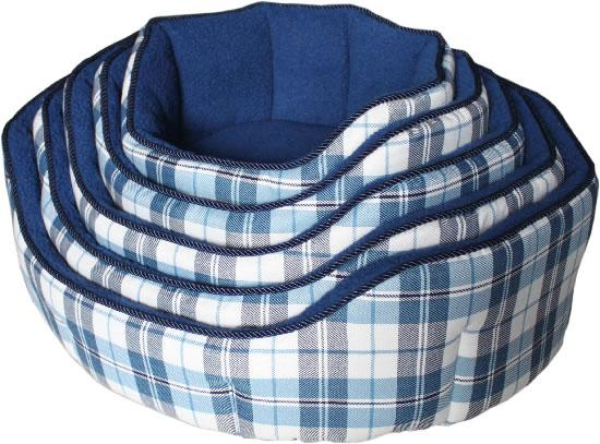 NEW Canvas-Fleece Chequered Blue Dog Bed (Size Varieties) - Dog Accessories - Browns Pet Range
