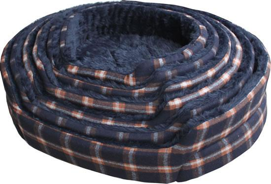 NEW Canvas-Fleece Chequered Navy/Umber Dog Bed (Size Varieties) - Dog Accessories - Browns Pet Range