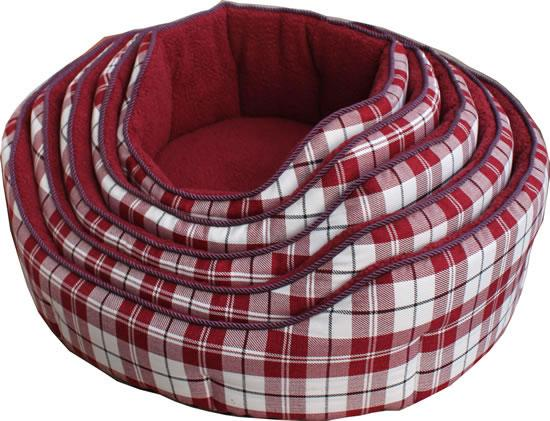 NEW Canvas-Fleece Chequered Red Dog Bed (Size Varieties) - Dog Accessories - Browns Pet Range
