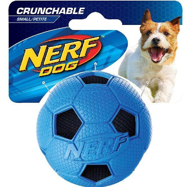 NEW Nerf Dog Soccer Scrunch Squeaker Ball - Dog Toys - Browns Pet Range