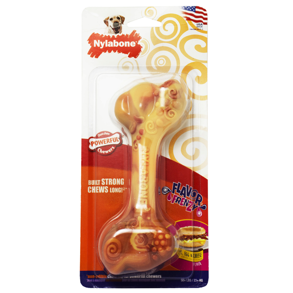 Nylabone Flavor Frenzy Power Chew Breakfast Bone, Bacon, Egg & Cheese (GIANT)