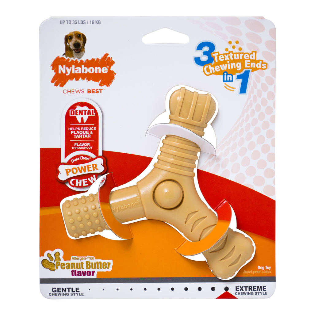 Nylabone Power Chew 3 Prong Chew Toy, Peanut Butter