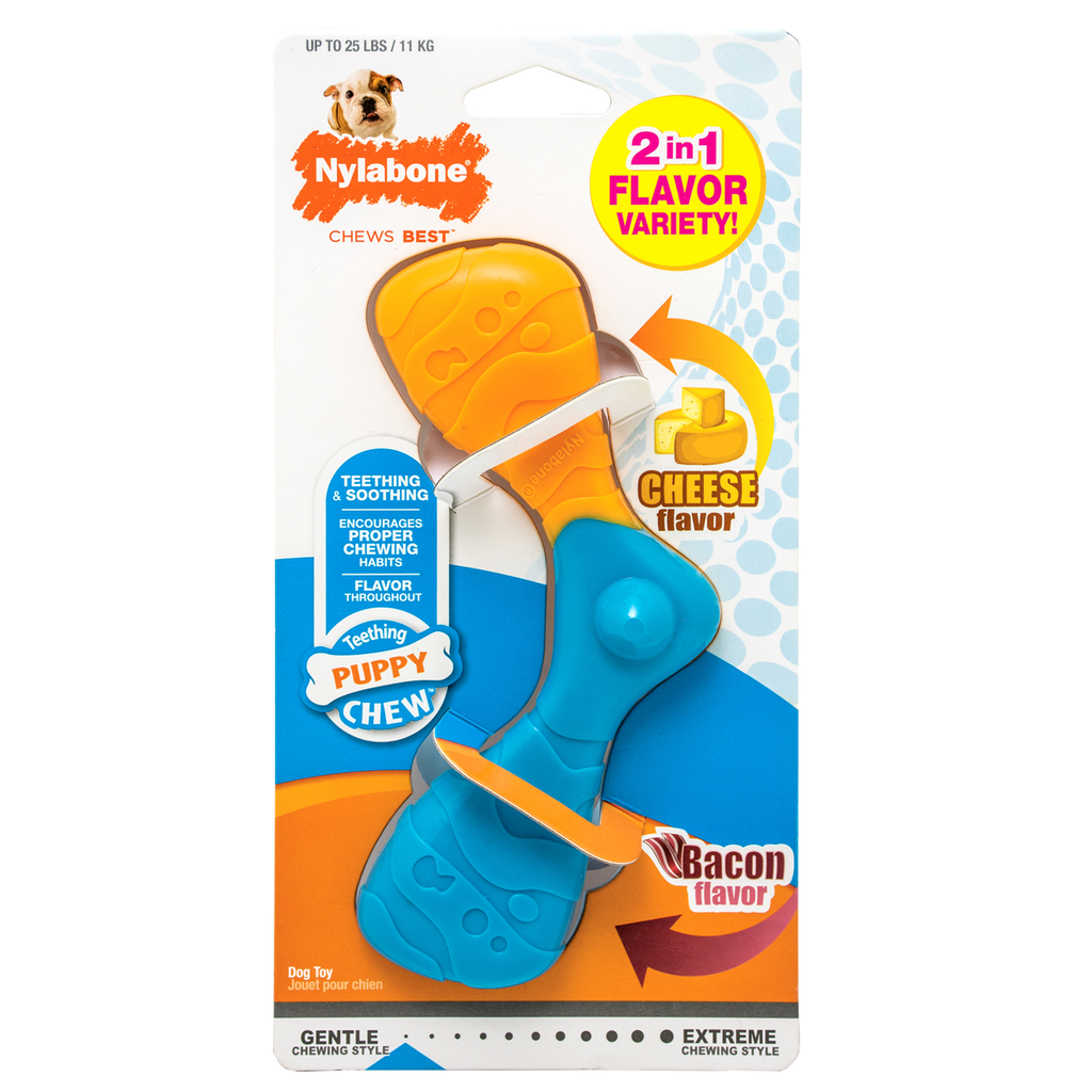 Nylabone Puppy Chew Boomerang, Bacon & Cheese
