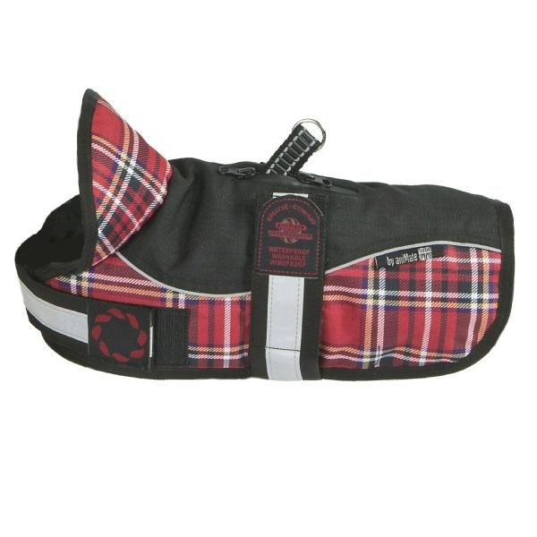 "Reflective Padded Harness Dog Coat | Red & Black Tartan | Size 10""-18"""