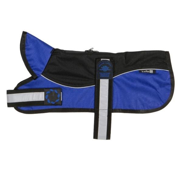 "Reflective Un-Padded Harness Dog Coat | Black & Blue | Size 12"" & 14"""