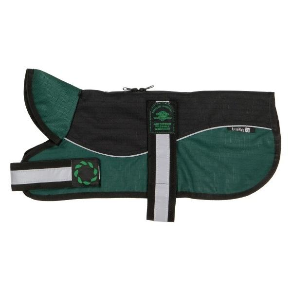 "Reflective Un-Padded Harness Dog Coat | Black & Green | Size 12"" & 14"""