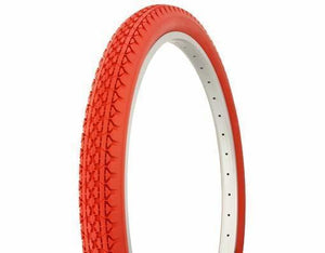 "Duro Components Red Tires "" You Get 2 Per Purchase "" Duro 26""x2.125"" Beach Cruiser Color Bicycle Tires"