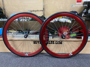 Origin8 Wheels Anodized Red / 700c / 16T 42mm Origin8 Fixed Gear Wheelset 700c W / Tube and Tire Flip-flop hub