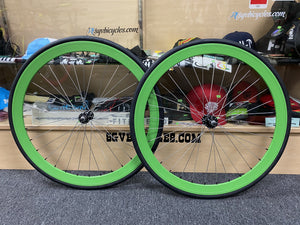 Origin8 Wheels Green / 700c / 16T 42mm Origin8 Fixed Gear Wheelset 700c W / Tube and Tire Flip-flop hub