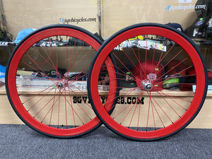 Origin8 Wheels Red / 700c / 16T 42mm Origin8 Fixed Gear Wheelset 700c W / Tube and Tire Flip-flop hub