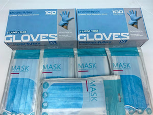 SGV Bicycles MKC Gear 50 Face Mask with Elastic Ear Loop Plus 50 Nitrile Disposable Non-Sterile Gloves