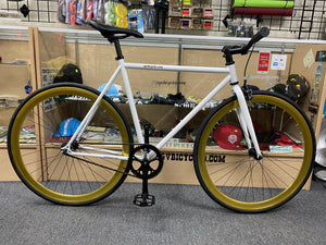 Sgvbicycles Bikes Sgvbicycles Irez Fixie Single Speed Bike White Gold