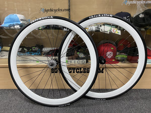 Sgvbicycles Wheels 700x23c / Matte Black 45MM Wheelset With Thickslick Tires White