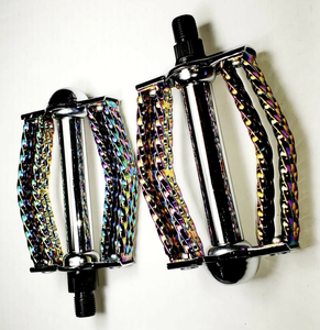 "Uno Components 1/2 / Neo Chrome Double Square Twisted Round Pedals 1/2"" Neo Chrome Lowrider, Beach Cruiser, Chopper Bike"
