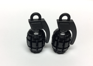 Uno Components Black Granade Valve Caps Pair