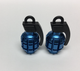 Uno Components Blue Granade Valve Caps Pair