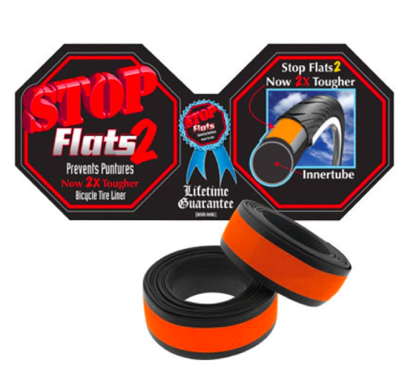 """STOP FLATS V2---26/"""" X 1.5-1.95/"""" SILVER BICYCLE TIRE LINER--MTB-CRUISER--SINGLE"""