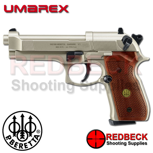 Beretta 92 FS Nickel With Wood Grips C02 Air Pistol