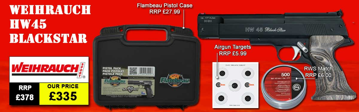Weihrauch HW45 Black Star Air Pistol Package Deal