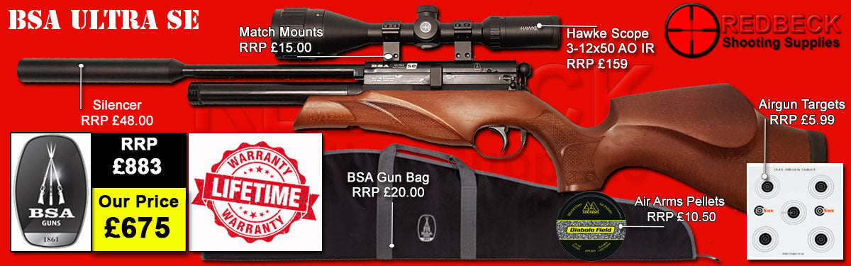 BSA Ultra SE Beech Package Deal with Scope, Silencer, Bag and targets