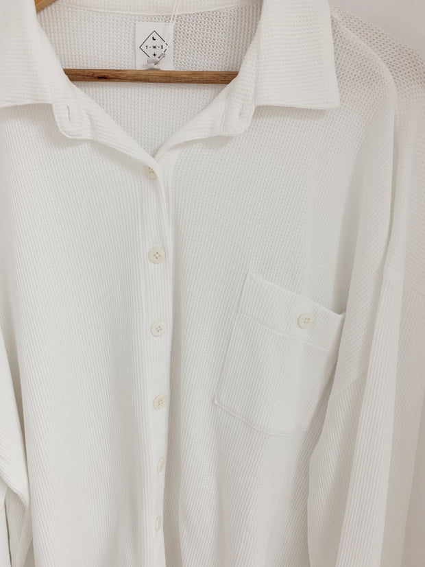 White Waffle Oversized Button up Shirt