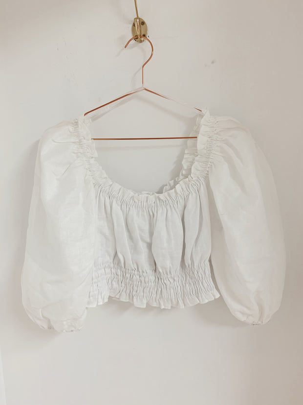 White Balloon Sleeve Crop