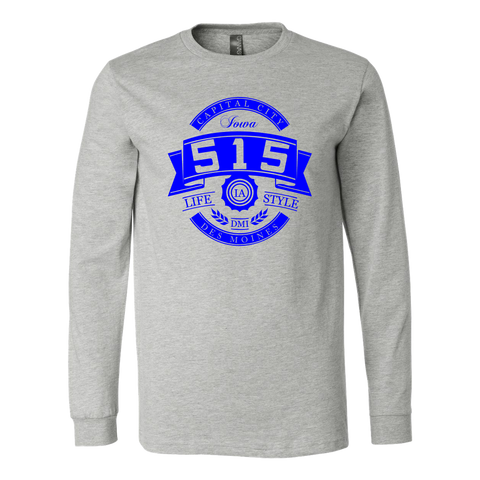 515 Area Code - Capital City Blue Long Sleeve Shirt