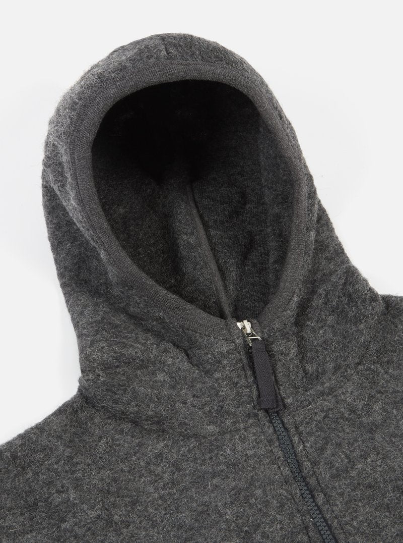 Universal Works AW19 Wool Fleece Surfer Hoodie in Charcoal