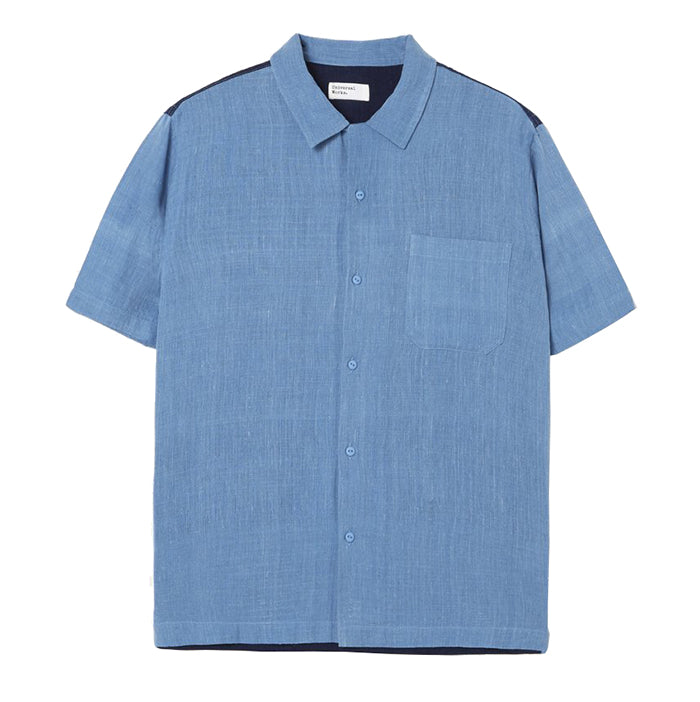 Universal Works Road Shirt In Sky Blue Handloom Cotton