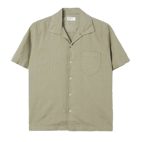 Universal Works Open Collar Shirt In Laurel Linen/Cotton Mix