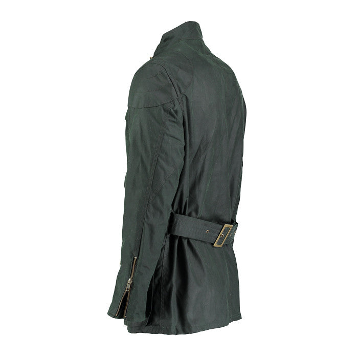 Archie Foal Men's ANSGAR Wax Cotton Biker Field Jacket in Green