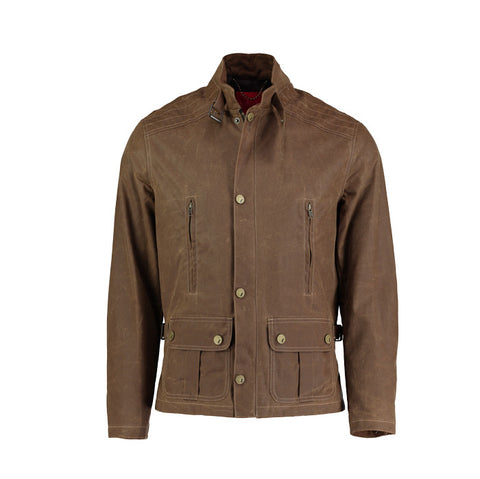 Waxed Cotton Bomber Jacket in Tan