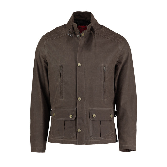 Waxed Cotton Bomber Jacket in Brown